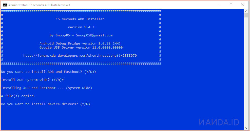 Cara Instal 15 Seconds ADB Fastboot Untuk Windows