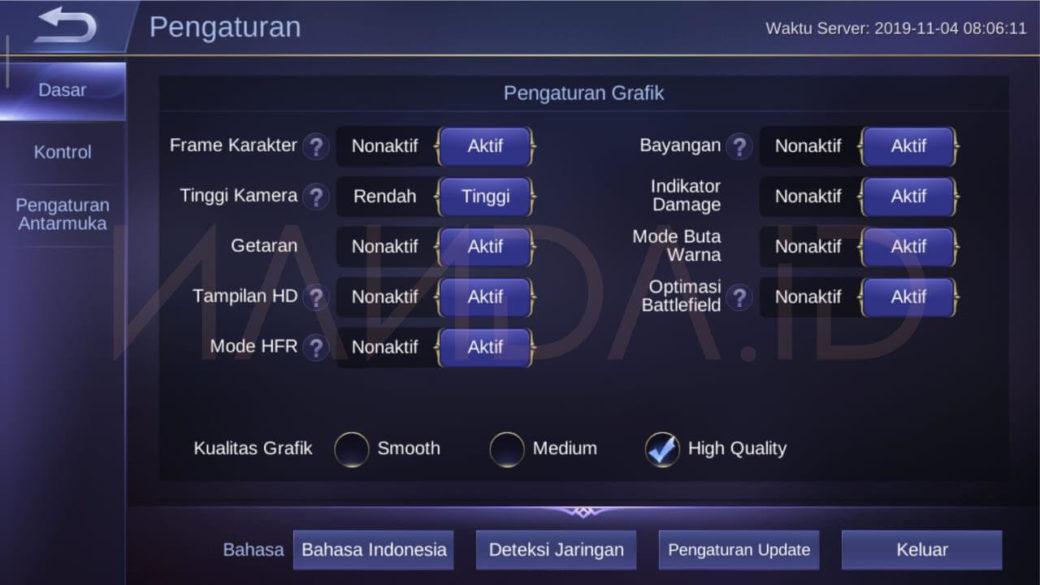 Cara Memunculkan Kembali Opsi HFR Mobile Legends