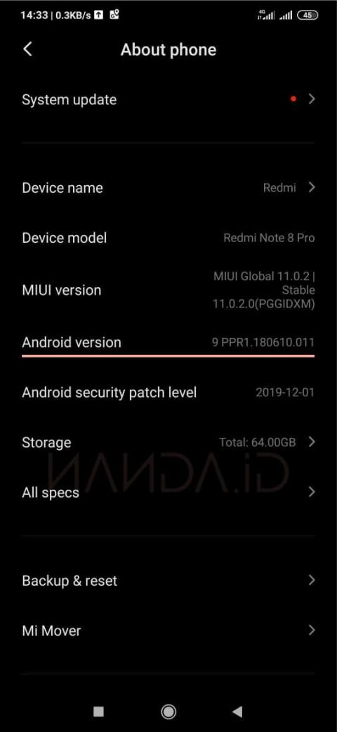 Update Redmi Note 8 Pro (Begonia) ke Android 10 (MIUI 11)