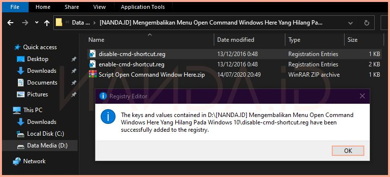 Mengembalikan Menu Open Command Windows Here Di Windows 10